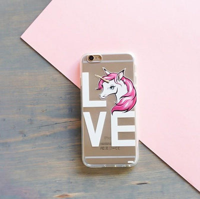 LOVE Unicorn - Clear TPU Case Cover - Milkyway Cases -  iPhone - Samsung - Clear Cut Silicone Phone Case Cover