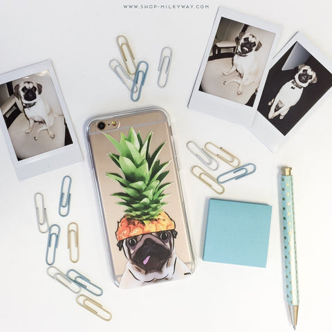 Pineapple Pug' - Clear TPU Case Cover
