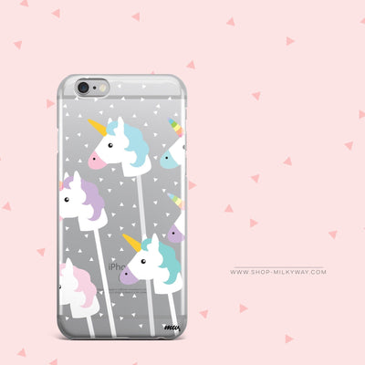 Unicorn Pops - Clear Case Cover - Milkyway Cases -  iPhone - Samsung - Clear Cut Silicone Phone Case Cover