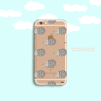 Hedgehog - Clear Case Cover Milkyway iPhone Samsung Clear Cute Silicone 8 Plus 7 X Cover