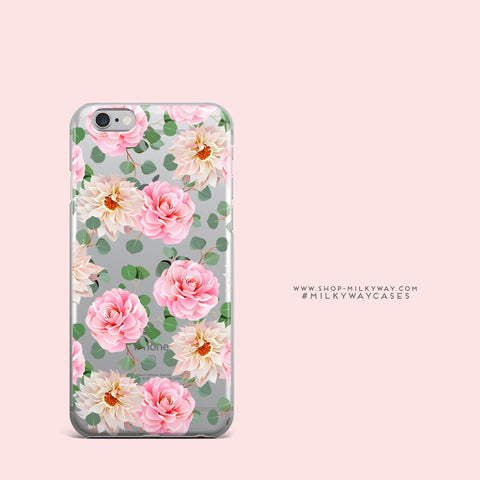'Camellia' - Clear TPU Case Cover