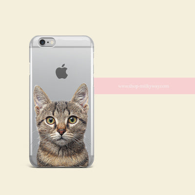 Cat' - Clear Case Cover - Milkyway Cases -  iPhone - Samsung - Clear Cut Silicone Phone Case Cover