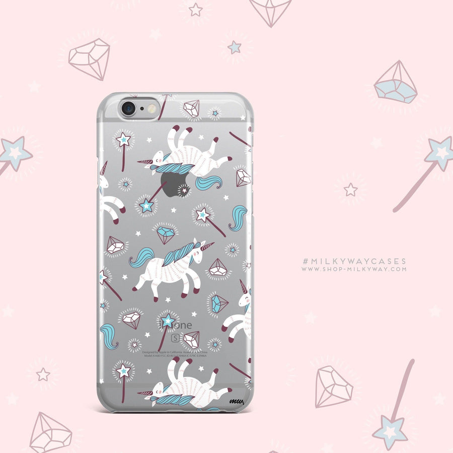 Unicorns and Diamonds - Clear Case Cover - Milkyway Cases -  iPhone - Samsung - Clear Cut Silicone Phone Case Cover