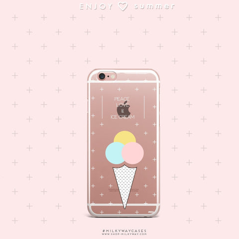 'Peace, Love & Ice Cream' - Clear TPU Case Cover