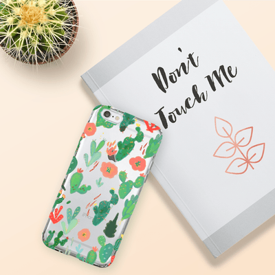 Watercolor Cactus - Clear TPU Case Cover - Milkyway Cases -  iPhone - Samsung - Clear Cut Silicone Phone Case Cover