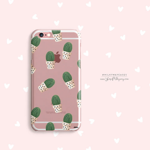 'Cacti and Hearts' - Clear TPU Case Cover
