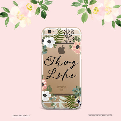 Thug Life - Clear Case Cover Milkyway iPhone Samsung Clear Cute Silicone 8 Plus 7 X Cover