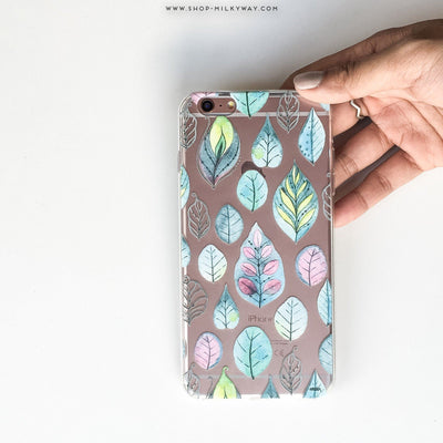 Leaves - Clear Case Cover - Milkyway Cases -  iPhone - Samsung - Clear Cut Silicone Phone Case Cover