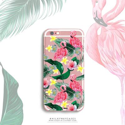 Hibiscus Paradise - Clear Case Cover Milkyway iPhone Samsung Clear Cute Silicone 8 Plus 7 X Cover
