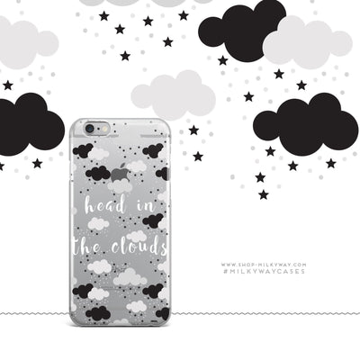 Head In The Clouds - Clear Case Cover Milkyway iPhone Samsung Clear Cute Silicone 8 Plus 7 X Cover