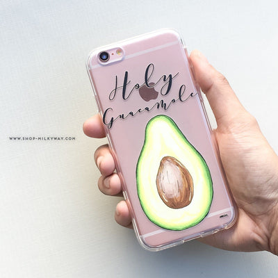 Holy Guacamole - Clear Case Cover - Milkyway Cases -  iPhone - Samsung - Clear Cut Silicone Phone Case Cover