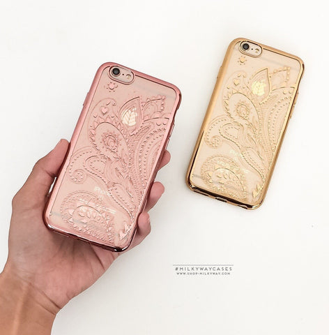 'Gilt Henna Paisley' - Clear TPU Case Cover