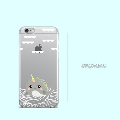 Narwhal - Clear Case Cover - Milkyway Cases -  iPhone - Samsung - Clear Cut Silicone Phone Case Cover