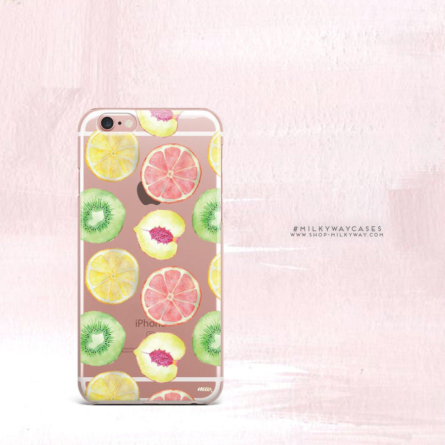 Summer Citrus - Clear Case Cover - Milkyway Cases -  iPhone - Samsung - Clear Cut Silicone Phone Case Cover