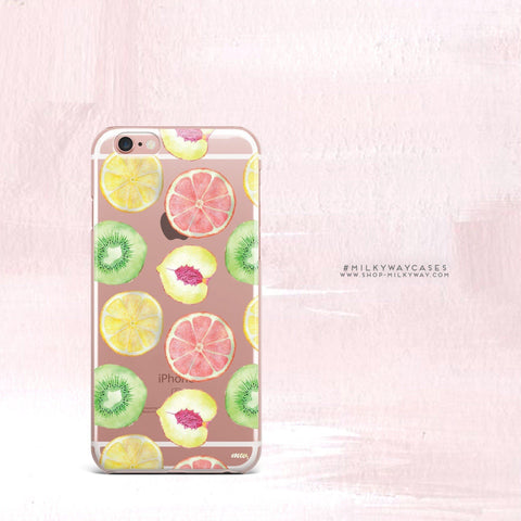 'Summer Citrus' - Clear TPU Case Cover