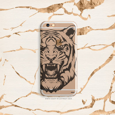 Tiger - Clear Case Cover - Milkyway Cases -  iPhone - Samsung - Clear Cut Silicone Phone Case Cover