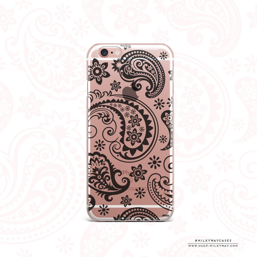 Black Paisley - Clear Case Cover - Milkyway Cases -  iPhone - Samsung - Clear Cut Silicone Phone Case Cover