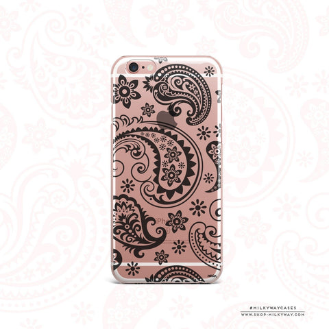 'Black Paisley' - Clear TPU Case Cover