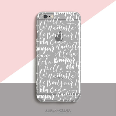 Bonjour - Clear Case Cover - Milkyway Cases -  iPhone - Samsung - Clear Cut Silicone Phone Case Cover