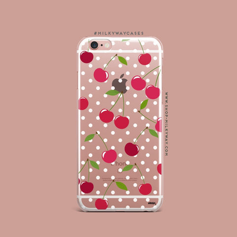 'Cherry Bomb (@okitssteph x @milkywaycases)' - Clear TPU Case Cover