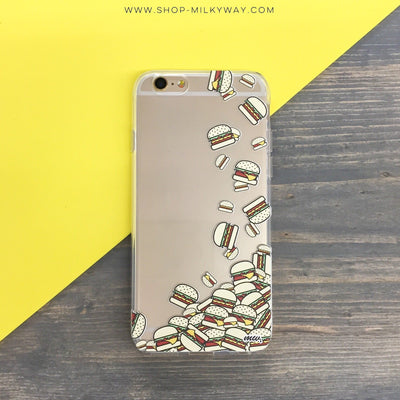 Burger Stack - Clear TPU Case Cover - Milkyway Cases -  iPhone - Samsung - Clear Cut Silicone Phone Case Cover
