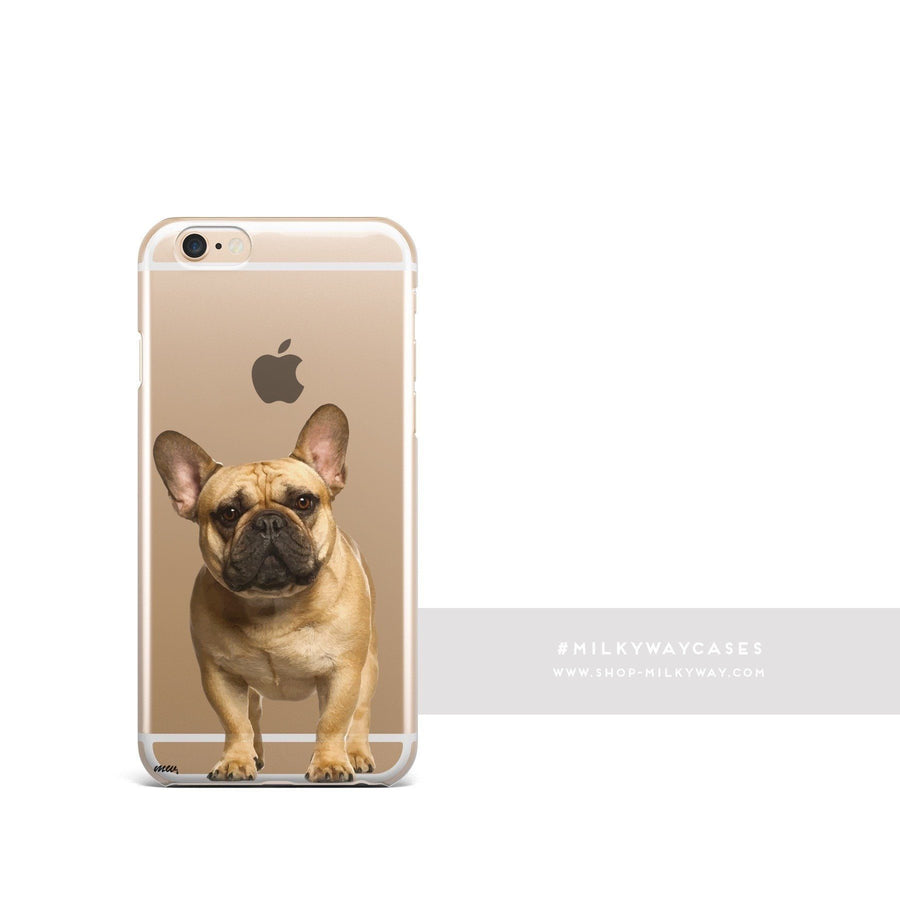 Black Masked Frenchie - Clear Case Cover - Milkyway Cases -  iPhone - Samsung - Clear Cut Silicone Phone Case Cover
