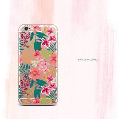 Summer Blossom - Clear Case Cover - Milkyway Cases -  iPhone - Samsung - Clear Cut Silicone Phone Case Cover