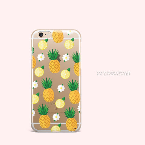 'Pineapple Lemon Summer' - Clear TPU Case Cover