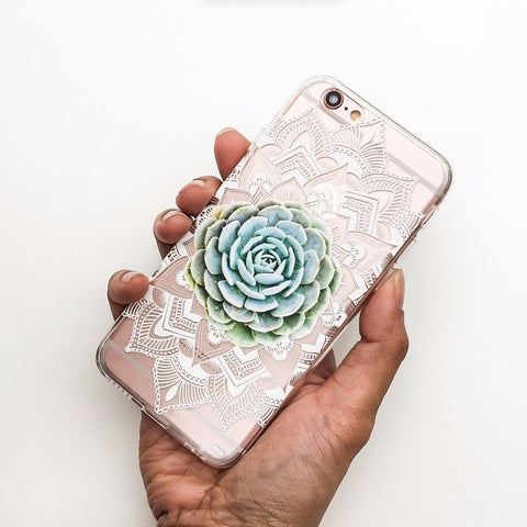 Succulent Mandala - Clear TPU Case Cover