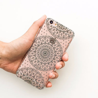 Steph Okits X Milkyway Cases Dots & Mandala - Clear Case Cover - Milkyway Cases -  iPhone - Samsung - Clear Cut Silicone Phone Case Cover