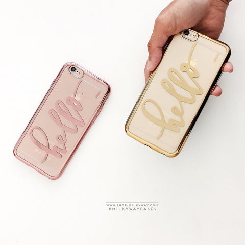 'Gilt Hello' - Clear TPU Case Cover