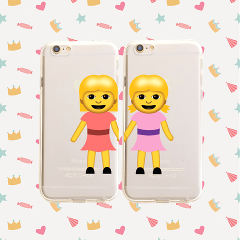 Best Friends Emoji Pair - Clear TPU Case Cover