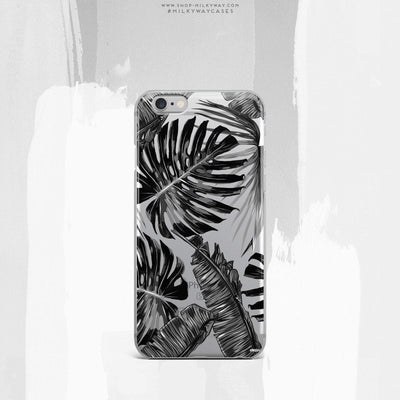 Monochrome Palm Leaves - Clear Case Cover - Milkyway Cases -  iPhone - Samsung - Clear Cut Silicone Phone Case Cover
