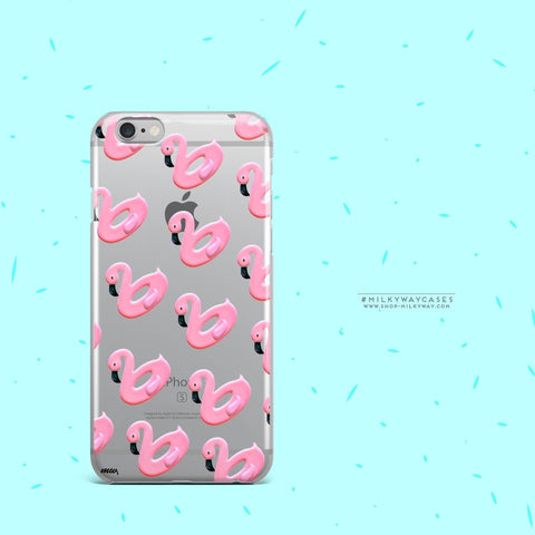'Flamingo Floaties' - Clear TPU Case Cover