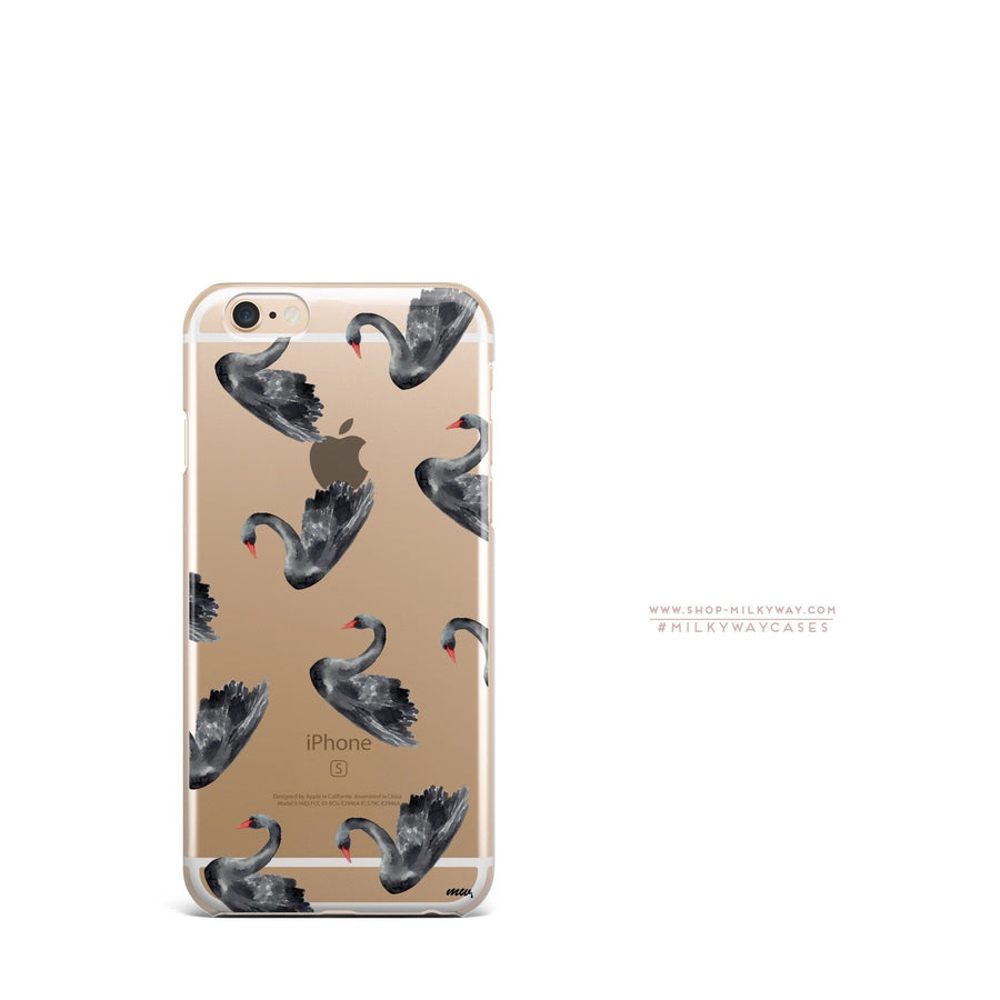 Black Swan' - Clear Case Cover - Milkyway Cases -  iPhone - Samsung - Clear Cut Silicone Phone Case Cover