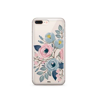 clear phone case with blue and pink flowers