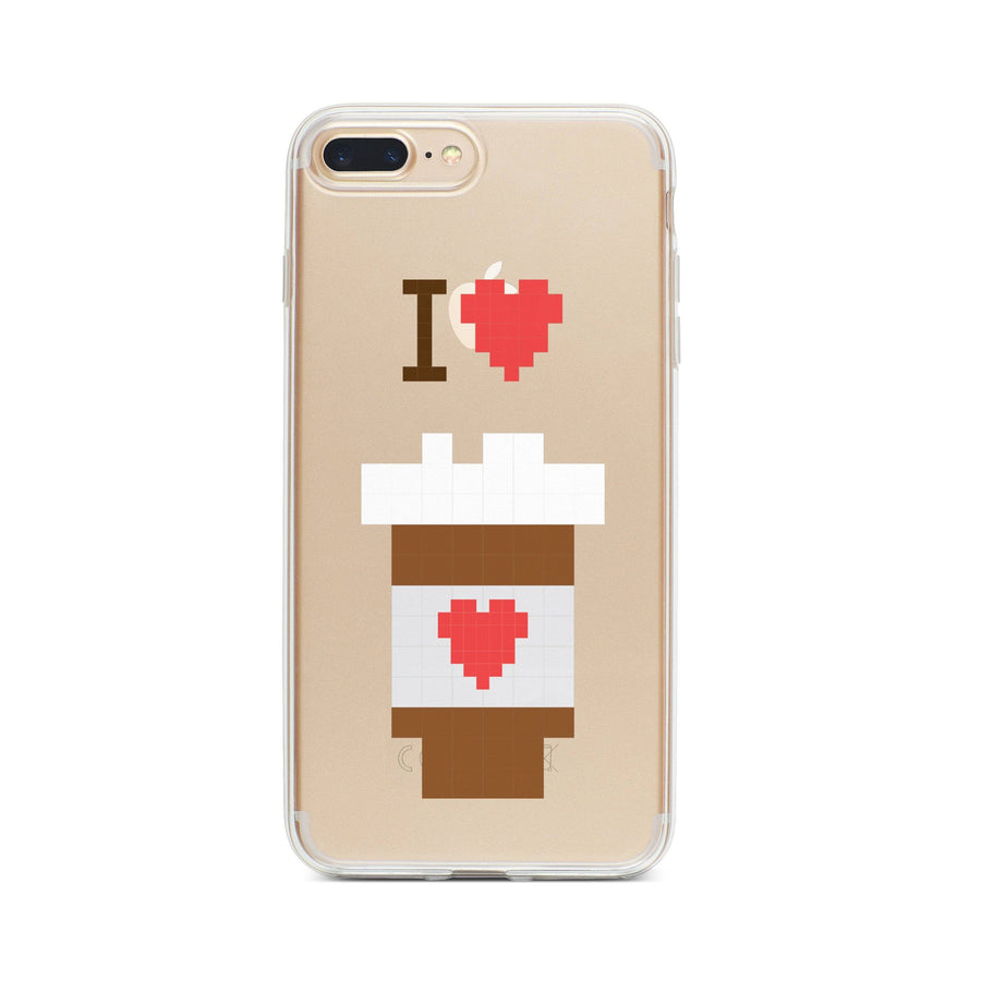 I Love Coffee 8-Bit Pixel - Clear TPU Case Cover