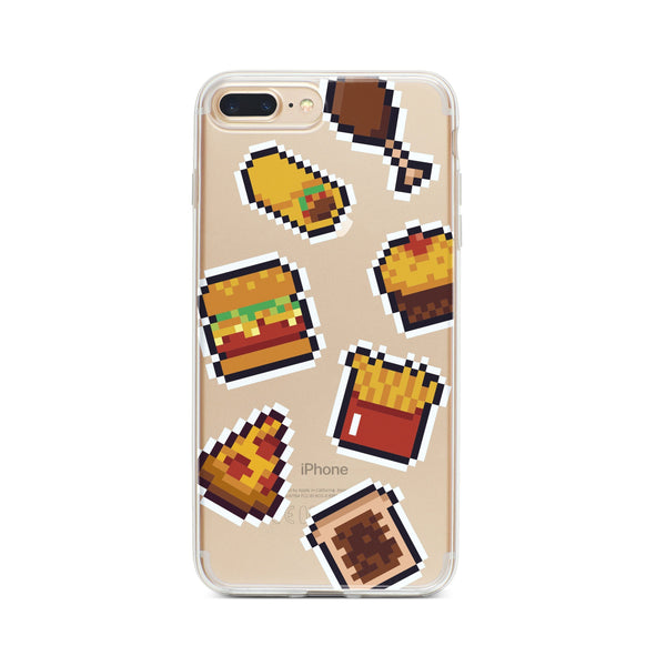 Fast Food 8-Bit Pixel - Clear TPU Case Cover - Milkyway Cases -  iPhone - Samsung - Clear Cut Silicone Phone Case Cover