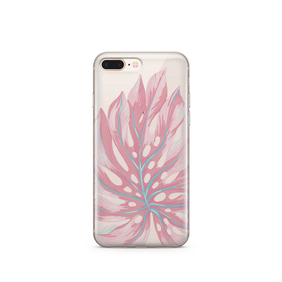 Pink Monstera - Clear TPU Case Cover