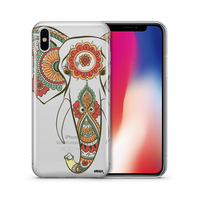 Colored Tribal Elephant - Clear TPU Case Cover - Milkyway Cases -  iPhone - Samsung - Clear Cut Silicone Phone Case Cover