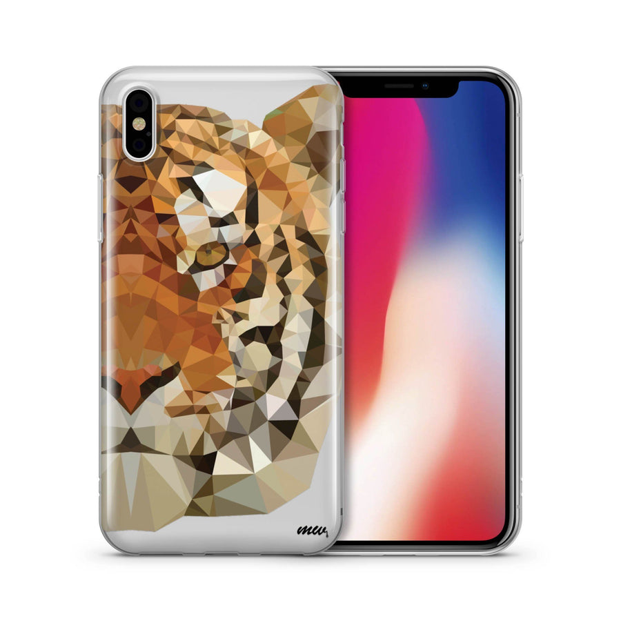 Geometric Tiger - Clear TPU Case Cover