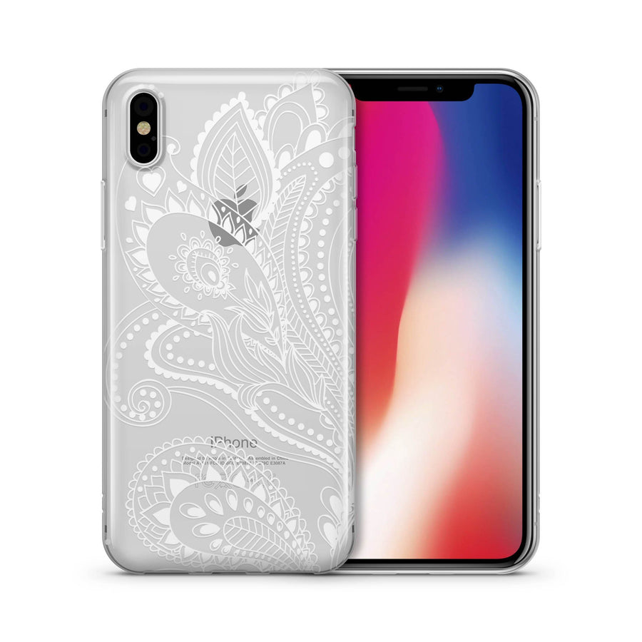 White Floral Paisley - Clear TPU Case Cover