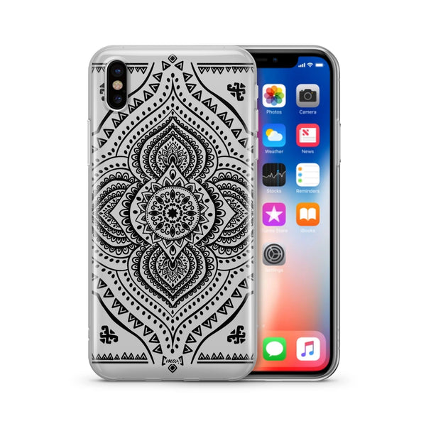 Black Opulent Mandala' - Clear Case Cover - Milkyway Cases -  iPhone - Samsung - Clear Cut Silicone Phone Case Cover