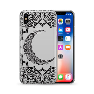 Crescent Moon Henna - Clear TPU Case Cover - Milkyway Cases -  iPhone - Samsung - Clear Cut Silicone Phone Case Cover