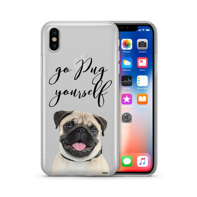 Go Pug Yourself - Clear Case Cover - Milkyway Cases -  iPhone - Samsung - Clear Cut Silicone Phone Case Cover