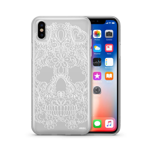 Henna Floral Skull - Clear TPU Case Cover Milkyway iPhone Samsung Clear Cute Silicone 8 Plus 7 X Cover