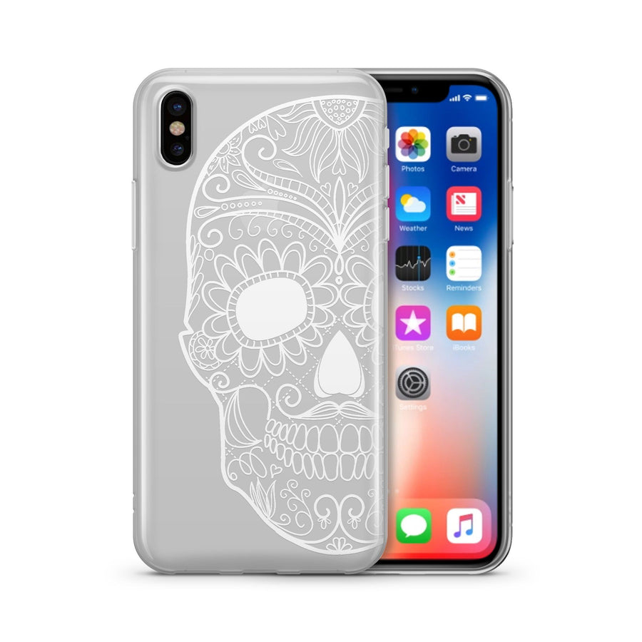 Henna Half Sugar Skull - Clear TPU - iPhone Case