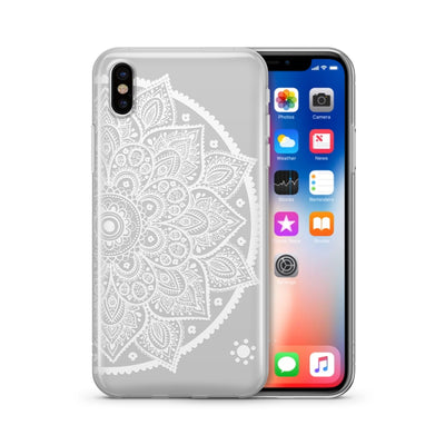 Henna Lotus Mandala - Clear TPU Case Cover Milkyway iPhone Samsung Clear Cute Silicone 8 Plus 7 X Cover