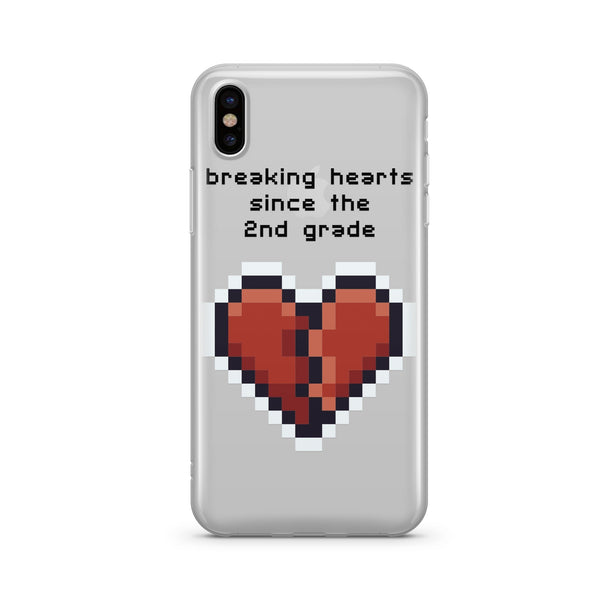 Heartbreaker 8-Bit Pixel - Clear TPU Case Cover Milkyway iPhone Samsung Clear Cute Silicone 8 Plus 7 X Cover