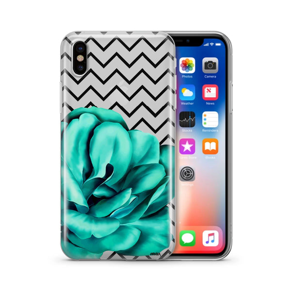 Blue Camelia - Clear TPU Case Cover - Milkyway Cases -  iPhone - Samsung - Clear Cut Silicone Phone Case Cover